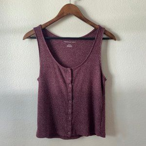 American Eagle Ribbed Maroon Tank with buttons
